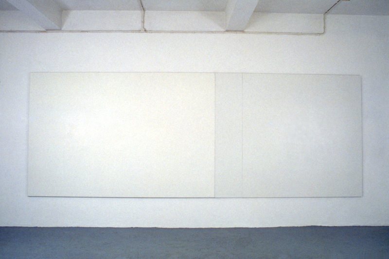 Untitled, 1992, Acrylic paint behind perspex, aluminium, acrylic paint on formica, 3 parts, 203 x 547,5 cm