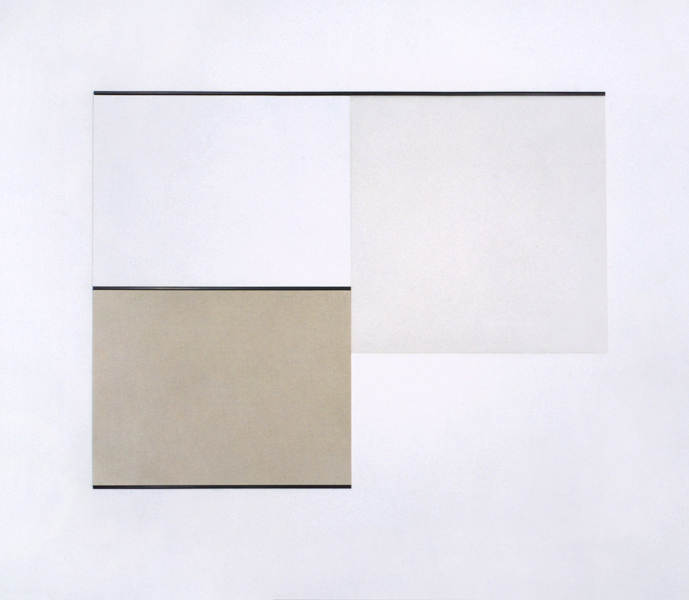 Untitled, Paint behind polystyrene, canvas and paint on hardboard, plastic strip, 156 x 200,6 cm, 1991